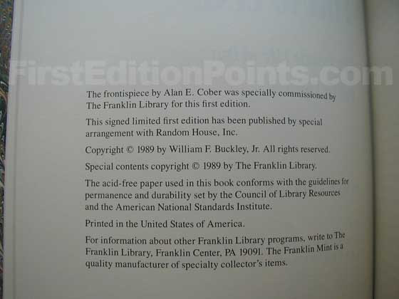 This is the copyright page from the true first Franklin Library edition.