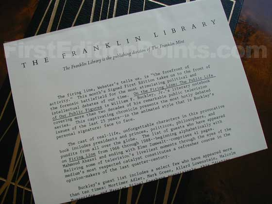 This letter came with the true first Franklin Library edition.