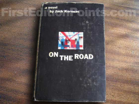 Picture of the 1957 first edition dust jacket for On the Road.
