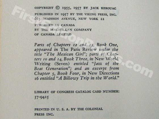 Picture of the first edition copyright page for On the Road.