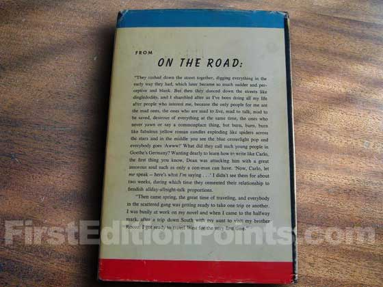 Picture of the back dust jacket for the first edition of On the Road.