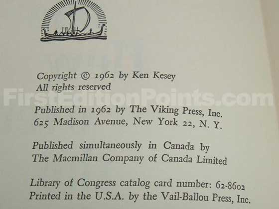 Picture of the first edition copyright page for One Flew Over the Cuckoo's Nest.