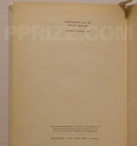 "The copyright page on the first edition states ""Published, September, 1922""."