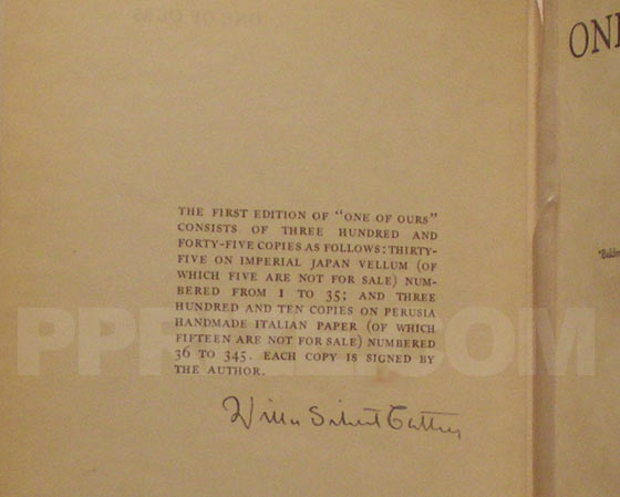 This is the limitation page from the first edition. It is hand numbered and signed by