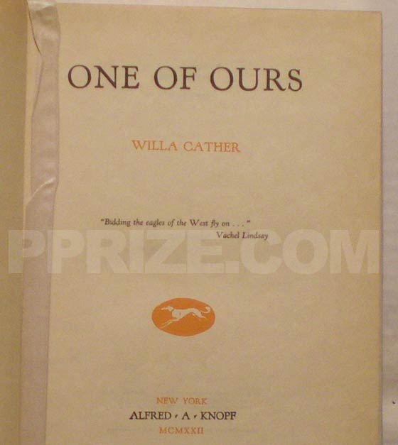 This is the title page from one of the first 35 first edition copies of One of Ours.