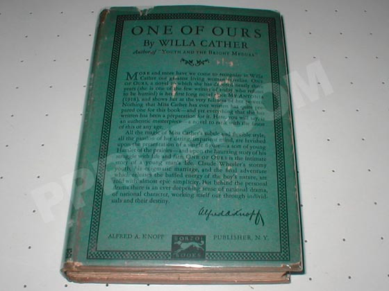 Picture of the first trade edition of One of Ours.