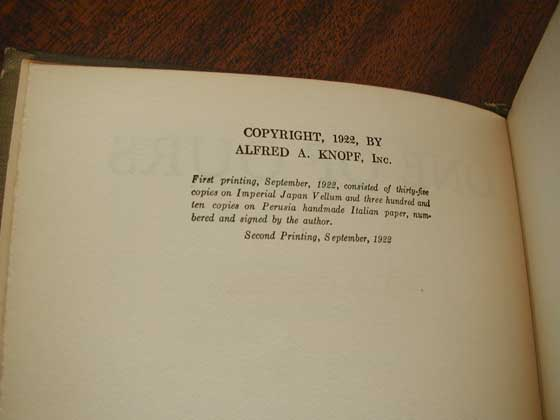 Picture of the first trade edition copyright page for One of Ours.