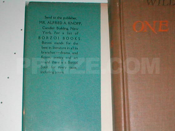 Picture of the front flap of the first trade edition.  The price is located on the bottom