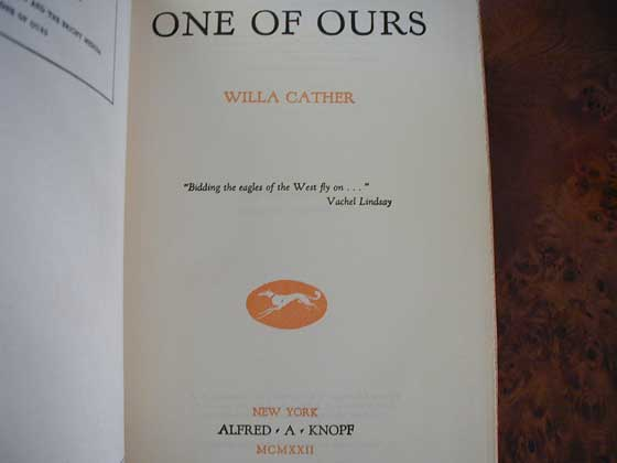 The title page from the first trade edition of One of Ours.