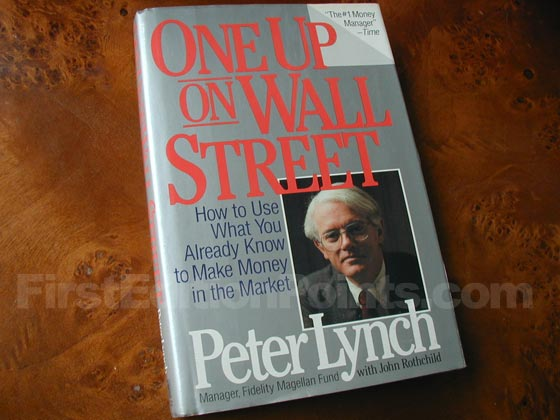 Picture of the 1989 first edition dust jacket for One Up on Wall Street.