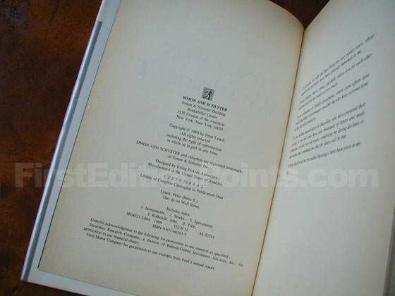Picture of the first edition copyright page for One Up on Wall Street.