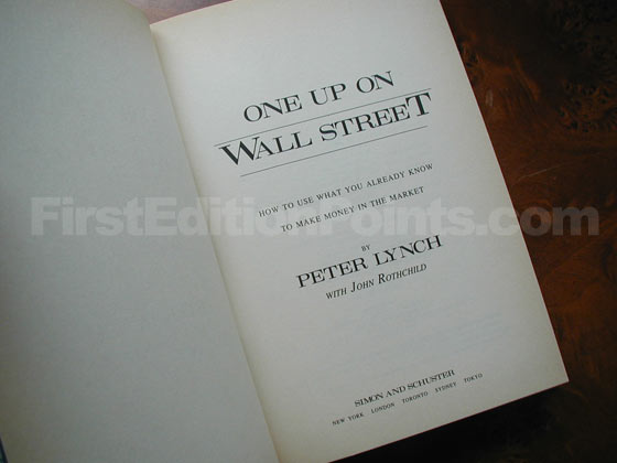Picture of the first edition title page for One Up on Wall Street.
