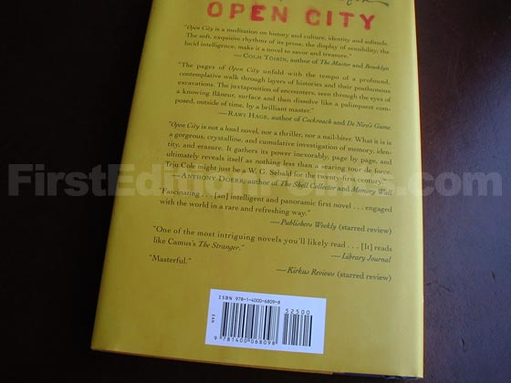 Picture of the back dust jacket for the first edition of Open City.