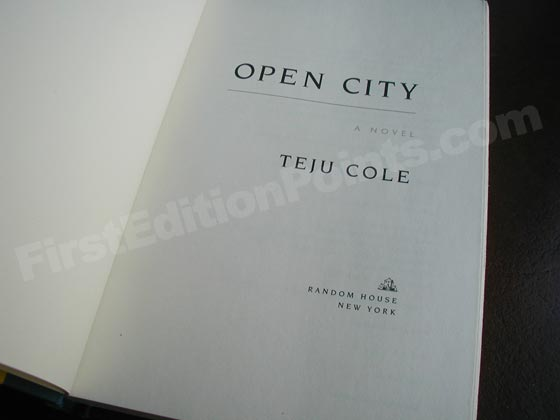 Picture of the first edition title page for Open City.