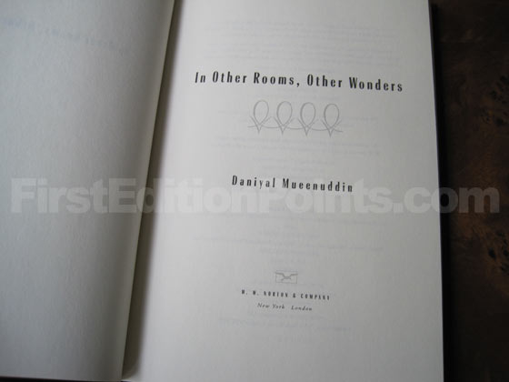 Picture of the first edition title page for In Other Rooms, Other Wonders.
