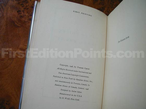 Picture of the first edition copyright page for Other Voices, Other Rooms.