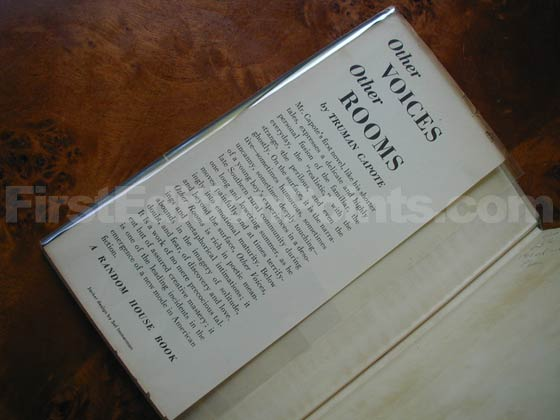 Picture of dust jacket where original $2.75 price is found for Other Voices, Other Rooms.