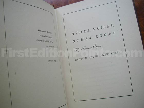 Picture of the first edition title page for Other Voices, Other Rooms.