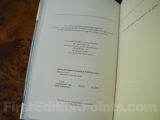 Picture of the first edition copyright page for Our House in the Last World .