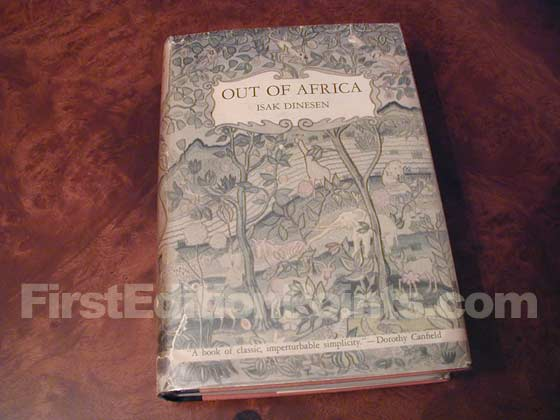 Picture of the 1938 first edition dust jacket for Out of Africa.