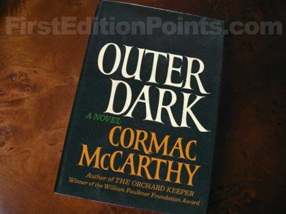Picture of the 1968 first edition dust jacket for Outer Dark.