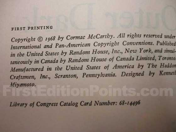 Picture of the first edition copyright page for Outer Dark.