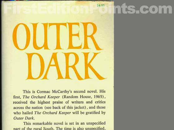Picture of dust jacket where original $4.95 price is found for Outer Dark.