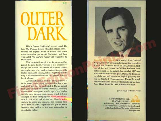 This is the front and back dust jacket flaps for Outer Dark.