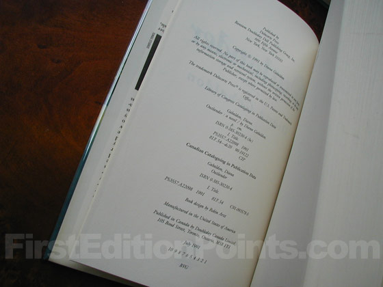 Picture of the first edition copyright page for Outlander.