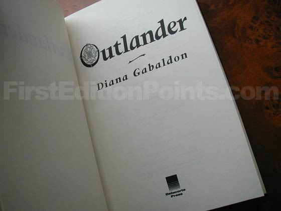 Picture of the first edition title page for Outlander.