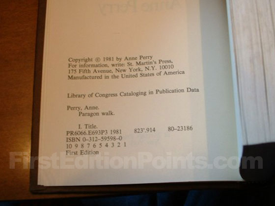 Picture of the first edition copyright page for Paragon Walk.