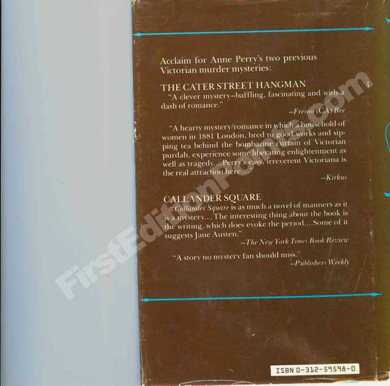 Picture of the back dust jacket for the first edition of Paragon Walk.