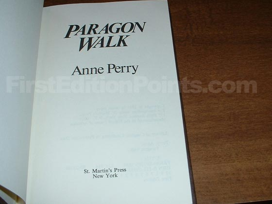 Picture of the first edition title page for Paragon Walk.