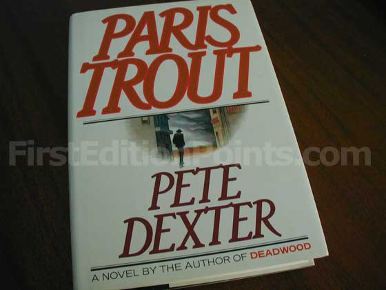 Picture of the 1988 first edition dust jacket for Paris Trout.