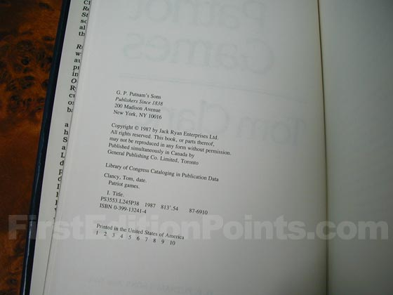 Picture of the first edition copyright page for Patriot Games.