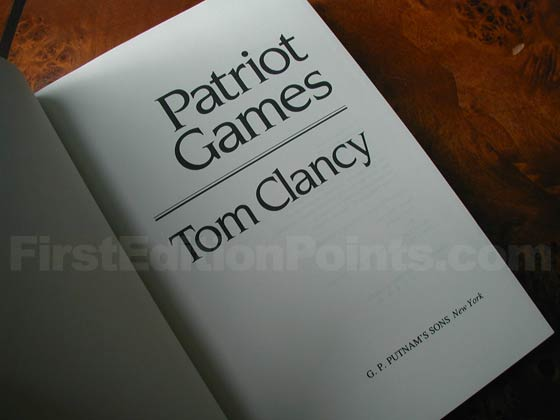 Picture of the first edition title page for Patriot Games.