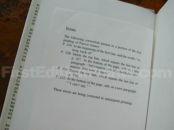 Many of the first state books came with an Errata that describes five errors.  The last
