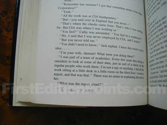 "The bottom of page 232 is missing the line ""I can't say.""  This copy of Patriot Games"