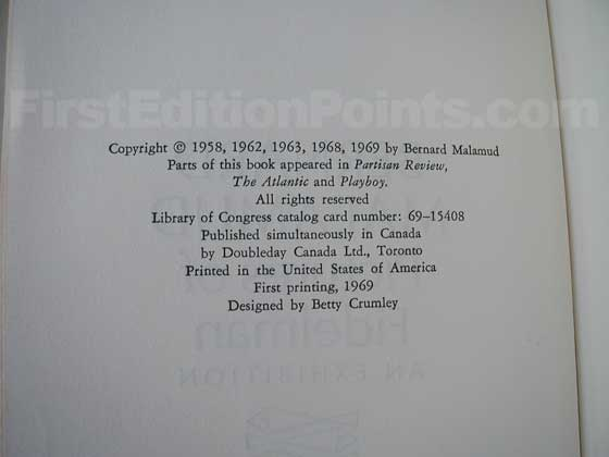 Picture of the first edition copyright page for Pictures of Fidelman.