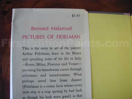 Picture of dust jacket where original $5.95 price is found for Pictures of Fidelman.