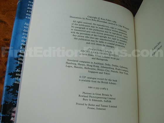 Picture of the first edition copyright page for The Pillars of the Earth.