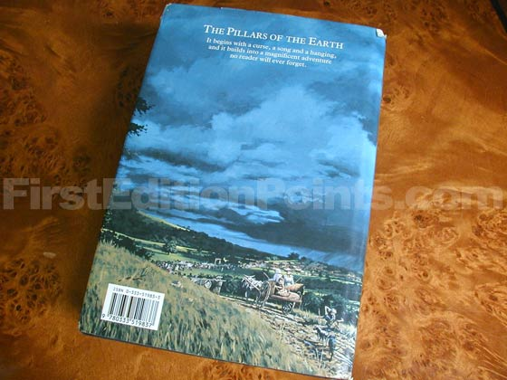 Picture of the back dust jacket for the first edition of The Pillars of the Earth.