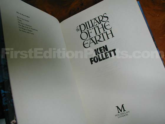Picture of the first edition title page for The Pillars of the Earth.