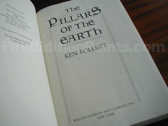 Picture of the first U.S. edition title page for The Pillars of the Earth.