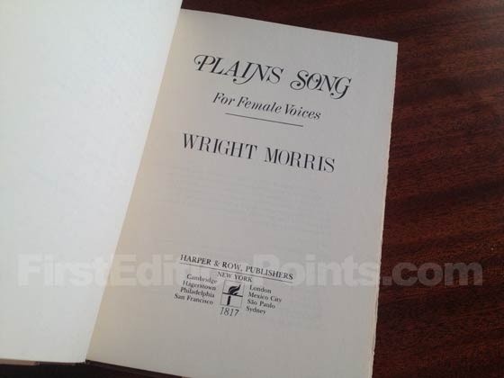 Picture of the first edition title page for Plains Song.