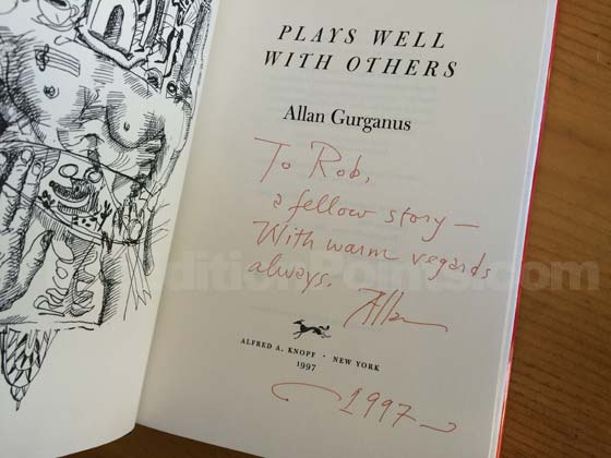 Picture of the first edition title page for Plays Well with Others. This one is signed by