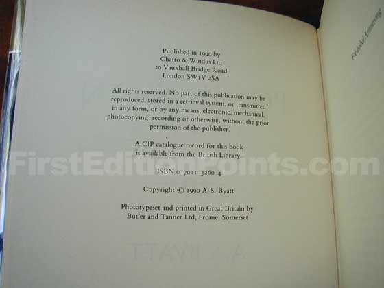 Picture of the first edition copyright page for Possession.