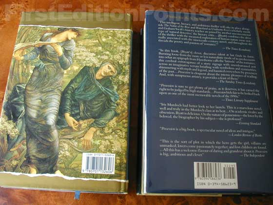 On the left is the back of the true first edition (UK), and on the right is the back of