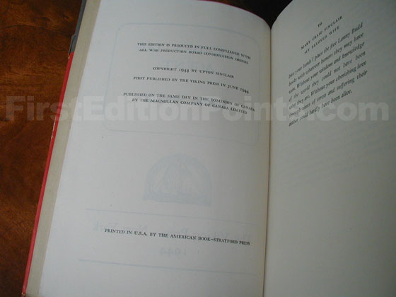 Picture of the first edition copyright page for Presidential Agent.