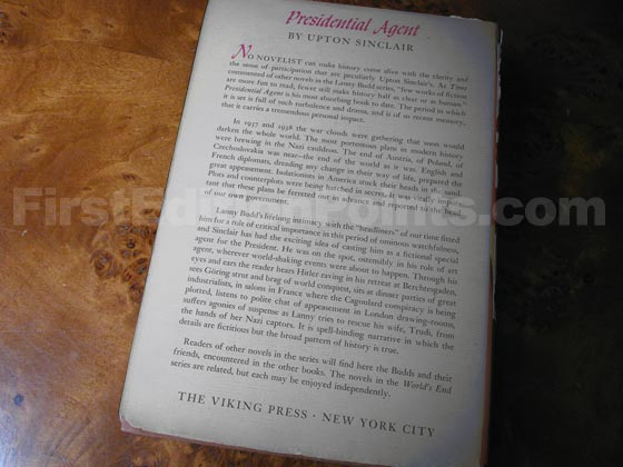 Picture of the back dust jacket for the first edition of Presidential Agent.